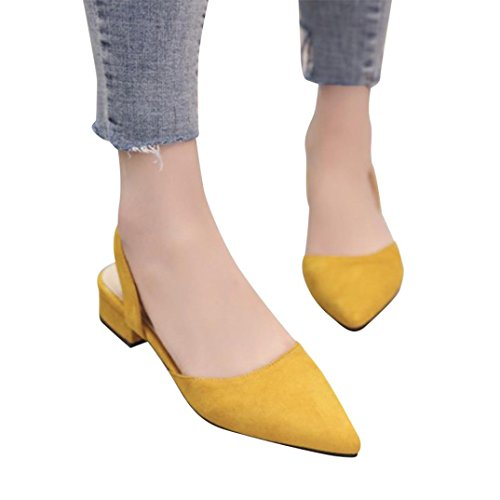 vermers Clearance Deals Ankle Strap Pumps for Women - Thick Heel Pointed Toe Mid Heels Comfortable Shoes(US:6, Yellow) by vermers