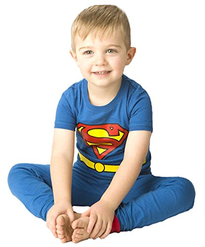 DC Comics Boys' Cast of Characters Pajama Set, blue -