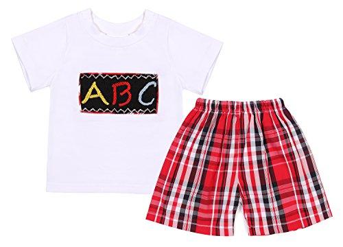Gingham Boyshort - Babeeni Baby Boys Short Set Smocked Alphabets (18M)