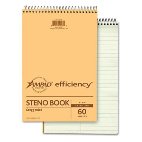 Ampad Spiral Steno Book, Gregg Rule, 6 x 9, Green Tint, 60 Sheets Per Notebook/Pack,(single) by ()