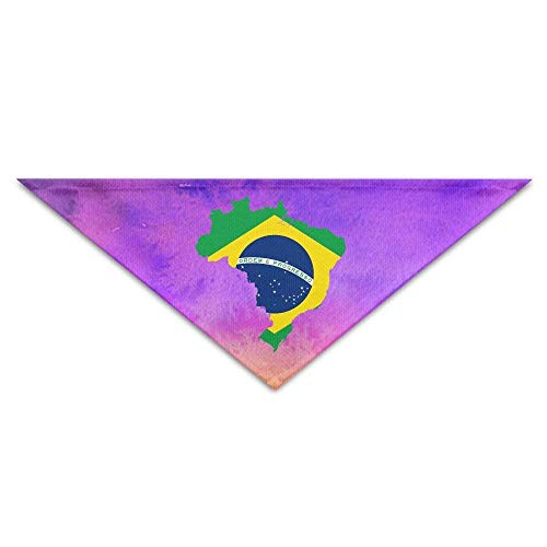 Fisbexy Map Flag Brazil Bandana Triangle Neckerchief Bibs Scarfs Accessories Pet Cats Baby Puppies The Saliva Dog Towel