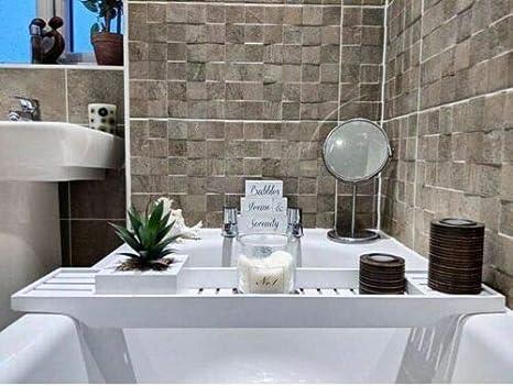 White Vencier Bamboo Wood Bath Tub Rack Bathroom Shelf Tidy Tray Storage Caddy Organiser