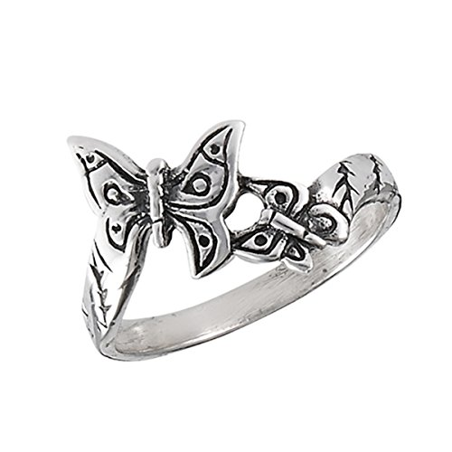 Sterling Silver Women's Filigree Wings Butterfly Friendship Ring (Sizes 1 - 8) (Ring Size (Black Butterfly Ring)