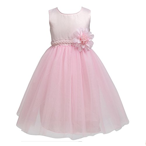 Merry Day Flower Little Girl Party Dress Girls Elegant Tulle Wedding Princess Gown Pageant Dresses Pink 2-3 (Pink Princess Flower Girl Dresses)