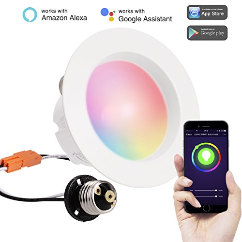 LOHAS LED Retrofit Downlight Smart, Wi-Fi Light, Multicolored(2000k-9000k), Voice Smartphone Controlled, E26 Base, 4 Inch Recessed downlights, Dimmable 10W(65 Watt Equivalent) Recessed Lighting