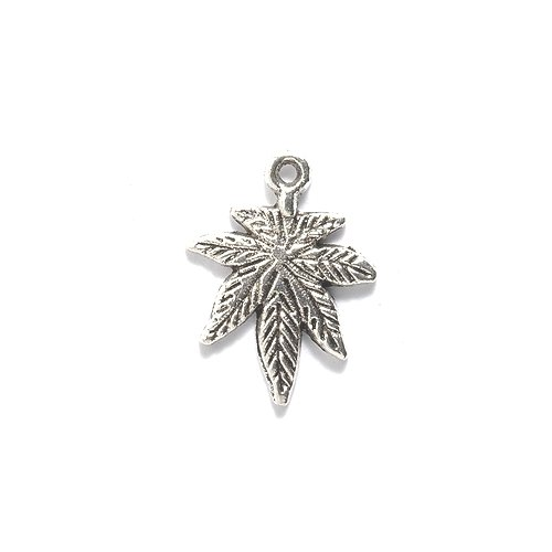 Shipwreck Beads Zinc Alloy Marijuana Leaf Charm, 15 by 21mm, Silver, (Silver Leaf Bead)