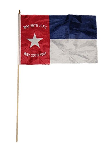 ALBATROS 12 inch x 18 inch North Carolina Republic Stick Flag with Wood Staff for Home and Parades, Official Party, All Weather Indoors Outdoors ()