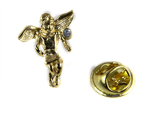 6030502 December Rhinestone Birth Month Angel Lapel Pin Guardian Protector Tie Tack Brooch