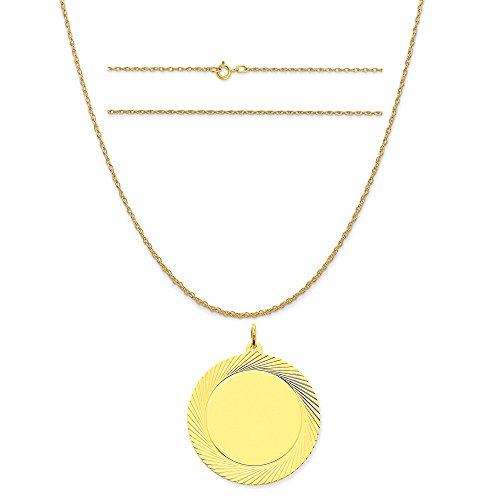 14k Yellow Gold Etched Design .035 Gauge Circular Engravable Disc Charm on Rope Chain Necklace, 18