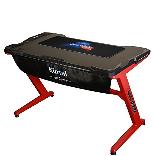 Kinsal Gaming Desk Computer Z-Shaped Desk Table With Fighting LED Ambience Lighting, Racing Table E-sports Durable Gaming Desk Ergonomic Comfortable PC Desk (Red/Black) by Kinsal