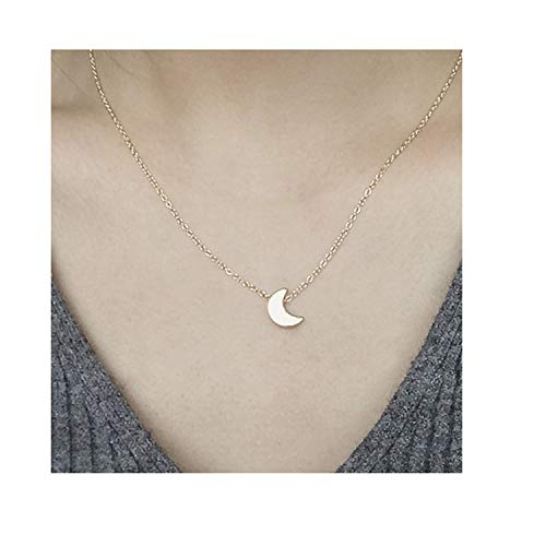 0f683b380e9d Simple Gold Silver Plated Moon Necklace Pendant Chain for Women Accesorios  Mujer Joyeria Mujer Colar