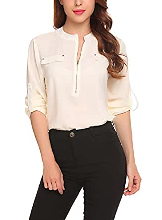 Women Blouses Shirts Floral Long Sleeve Chiffon Casual Tops Zip Up Sexy Classic, Beige, Small