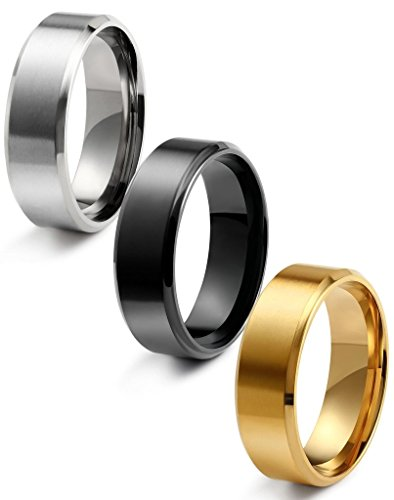 FIBO STEEL 8MM Stainless Steel Rings for Men Promise Wedding Band Ring Engagement 3 Pcs a Set, Size 11.5