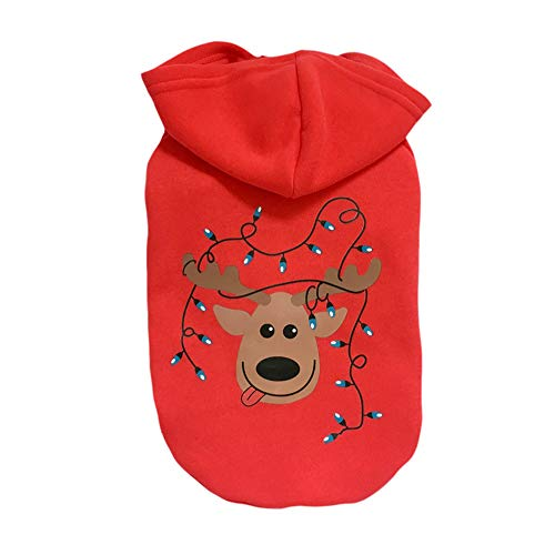 Pet Clothes, Puppy Christmas Hooded Sweatshirts Warm Christmas Tree Print Dog Outfit (S,Red) -