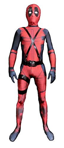 Riekinc Unisex Lycra Spandex Zentai Halloween Cosplay Costumes Kids 3D Style, Red, Medium