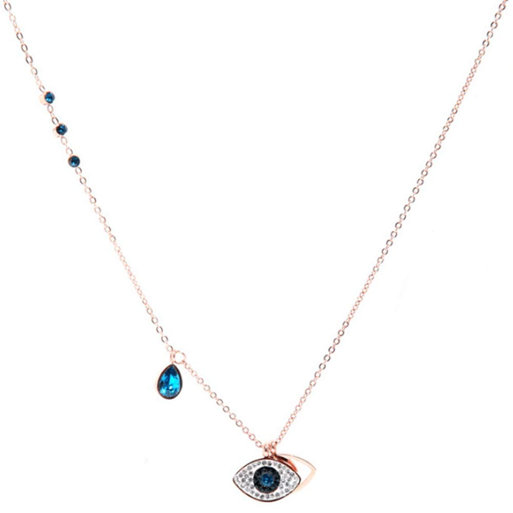 Jude Jewelers Stainless Steel Evil Eye Crystal Statement Cocktail Party Charm Necklace B07GFL35WL_US