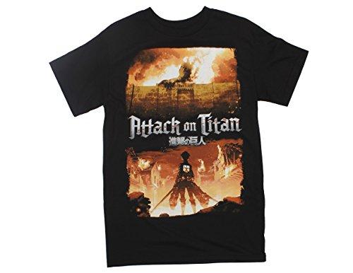 Attack Mens T-shirt - Ripple Junction Attack On Titan Key Art Adult T-Shirt Small Black