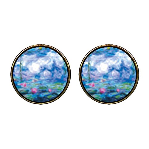 GiftJewelryShop Gold Plated Monet's Nympheas Water Lilies Photo Stud Earrings 12mm Diameter ()