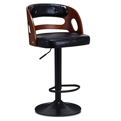 ar Stool, Breakfast Stool With Backrest Wooden Kitchen Furniture Stainless Steel PU Leather Dining Chair Creative Reception Chair, for Kitchen, Restaurant, Cafe, Bar Living room ki ()
