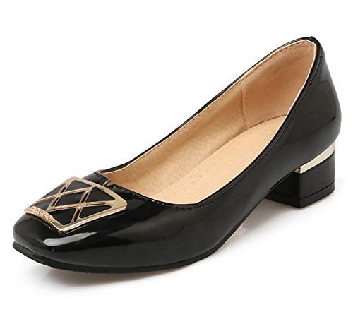 Mofri Women's Dressy Square Toe Low Cut OL Work Shoes Low Block Heels Slip on Pumps (Black, 4 B(M) US) ()