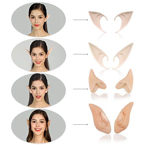 Phaxcoo 4 Pair Cosplay Fairy Pixie Elf Ears Anime Halloween Elven Ears Goblin Party Dress Up Costumes