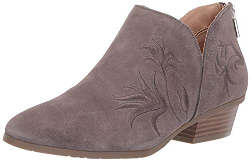 Kenneth Cole REACTION Women's Side Gig Tonal Embroidered Ankle Bootie Boot, Grey, 9.5 M US