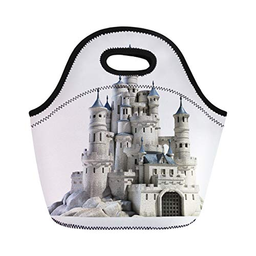 Semtomn Lunch Tote Bag Fantasy Castle 3D Fairytale Princess Medieval Royal Render Old Reusable Neoprene Insulated Thermal Outdoor Picnic Lunchbox for Men Women