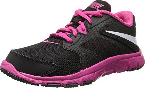 Nike Girl's Flex Supreme TR 3 Training Shoe (11C-7Y) Black/Vivid Pink/White Size 5 M US (Nike Flex Supreme Tr 5 Training Shoe)