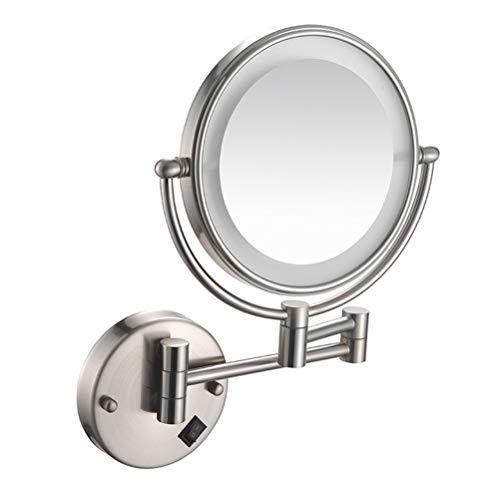 Espejo Para Maquillarse El De Doble Cara con LED De 8 Pulgadas Y 3 Aumentos Puede Ser Un Espejo Giratorio Plegable De Pared...