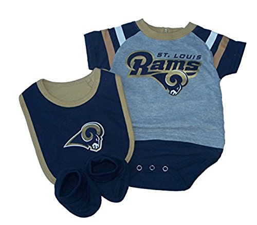 St. Louis Rams Infant Size 6-9 Months 3 Piece Creeper Set NFL Authentic Team Logo Print Bodysuit - Onesie / Bib / Booties by Genuine Merchandise