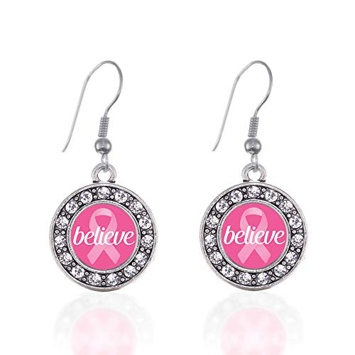 Inspired Silver - Believe Ribbon Breast Cancer Awareness Charm Earrings for Women - Silver Circle Charm French Hook Drop Earrings with Cubic Zirconia Jewelry (Awareness Ribbon Set Earrings)