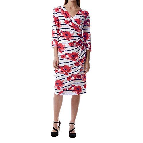 Miss Via 8801122 Damen Modisches Kleid in Wickeloptik mit V-Ausschnitt 3/4-Arm Weiß/Rot/Gemustert