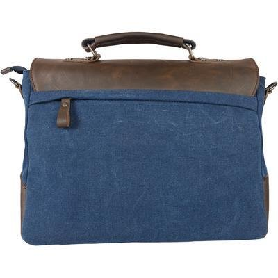Personalized Blue Borello Leather /& Canvas Messenger Bag Gold