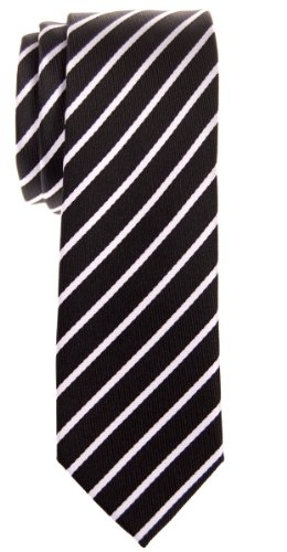 - Retreez Thin Regimental Striped Woven Microfiber Skinny Tie - Black with White Stripe