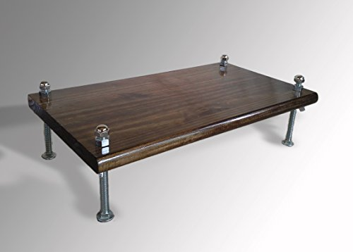 Monitor Stand PSTDWCB24-6 Pine Dark Walnut 24 x 11.25 x 6 TV Wood Shelf Riser Furniture Desk Assembled Made in USA NEW (Pine Tv Riser Stand)