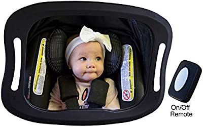 Baby Car Mirror with Light (for Driving at Night) & FOB Control OR No Light Option | Backseat Baby Mirror by Baby Watch | Shatter-Proof, Fully Assembled