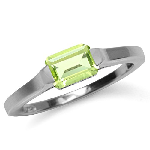 1.03ct. Natural Peridot White Gold Plated 925 Sterling Silver Solitaire Ring Size 6.5