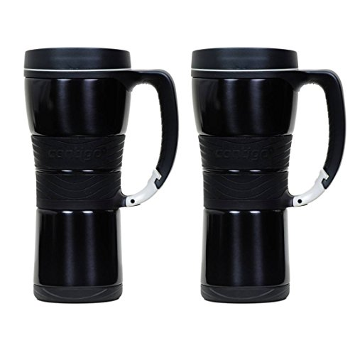Contigo Extreme Stainless Steel Travel Mug with Handle, 16oz - Metallic Black (2 Pack) by Ignite