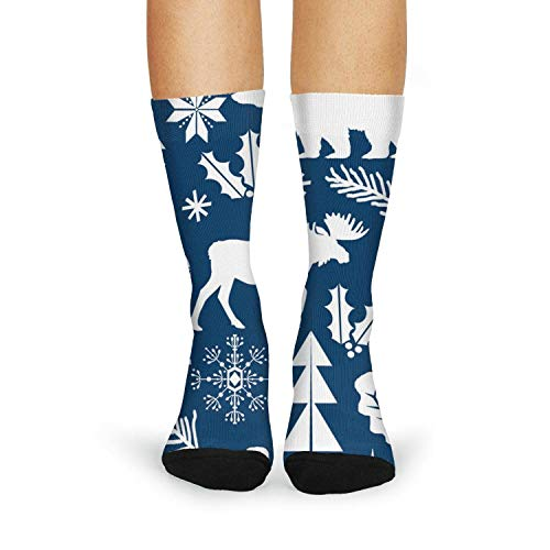Milr Gile Women's Christmas forest Bear Reindeer navy Crew Tube Socks Crazy Novelty High Athletic ()