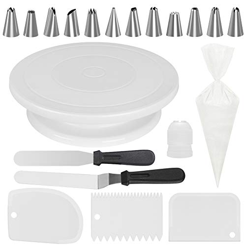 Kootek All-In-One Cake Decorating Kit Supplies with Revolving Cake Turntable, 12 Cake Decorating Tips, 2 Icing Spatula, 3 Icing Smoother, 50 Disposable Pastry Bags and 1 Coupler Baking Set, White