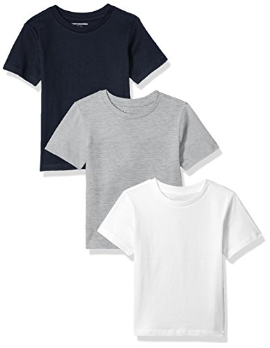 4t Tee - Amazon Essentials Toddler Boys' 3-Pack Short Sleeve Tee, Navy/White/Heather Grey, 4T
