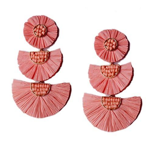 L&N Rainbery Bohemian Handmade Drop Earrings Fashion Beaded Raffia Palm Earrings for Women Tiered Dangle Statement Earrings (Coral)