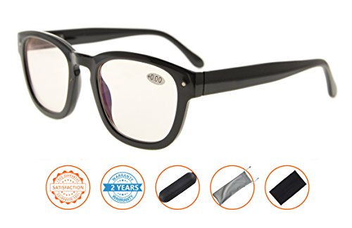 Anti Blue Rays,Reduce Eyestrain,UV Protection,Spring Hinges,Computer Readers Glasses for Men Women(Black,Amber Tinted Lenses) - With Reading Uv Glasses Protection