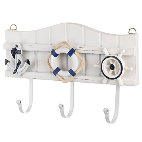 MyGift 3-Hook Wall-Mounted Nautical Wood & Metal Coat Rack