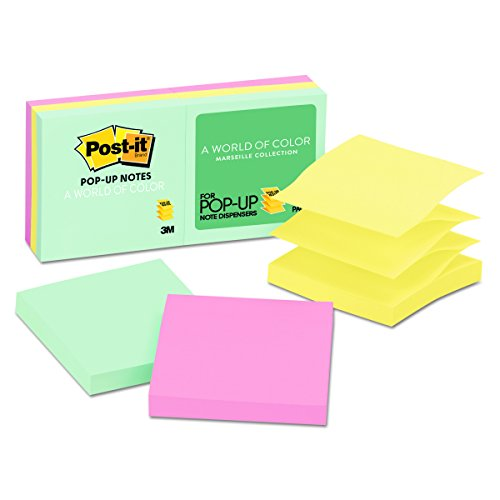 Refill Note Pop (Post-it Pop-up Notes, 3 in x 3 in, Marseille Collection, 6 Pads/Pack (R330-AP))