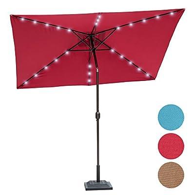 Sundale Outdoor Rectangular Solar Powered 26 LED Lighted Outdoor Patio Umbrella with Crank and Tilt, Aluminum, 9 by 6.5-Feet