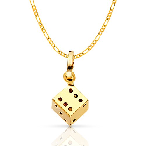 14K Yellow Gold Dice Charm Pendant with 1.6mm Figaro 3+1 Chain Necklace - 22