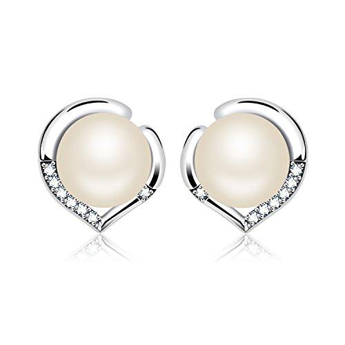3 Stone Pearl Ring (J.Rosee Earrings Sterling Silver Freshwater Cultured Pearl Earrings Heart Button Studs,)