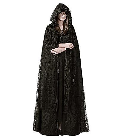 Amazon.com: Punk Gothic Women Hooded Cape Coats Black High ...