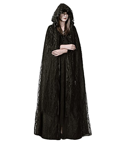 Steelsir Punk Gothic Women Hooded Cape Coats Black High Priestess Lace Long Cloak Halloween (High Priestess Costume)
